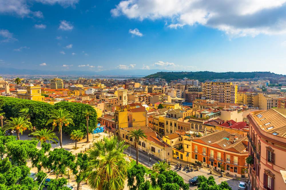 Cagliari - widok na stare miasto, Sardynia, Włochy
