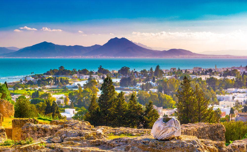 Widok z góry Byrsa z antycznymi ruinami Kartaginy